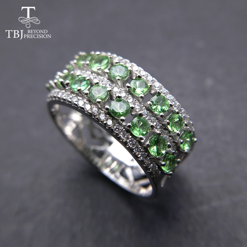 TBJ, Classic Gemstone Ring with 100% natural tsavorite gemstone ring in 925 sterling silver fine jewelry for women with Gift box tbj delicate small ring with natural good color blue tanzanite gemstone lady ring in 925 sterling silver fine jewelry for women