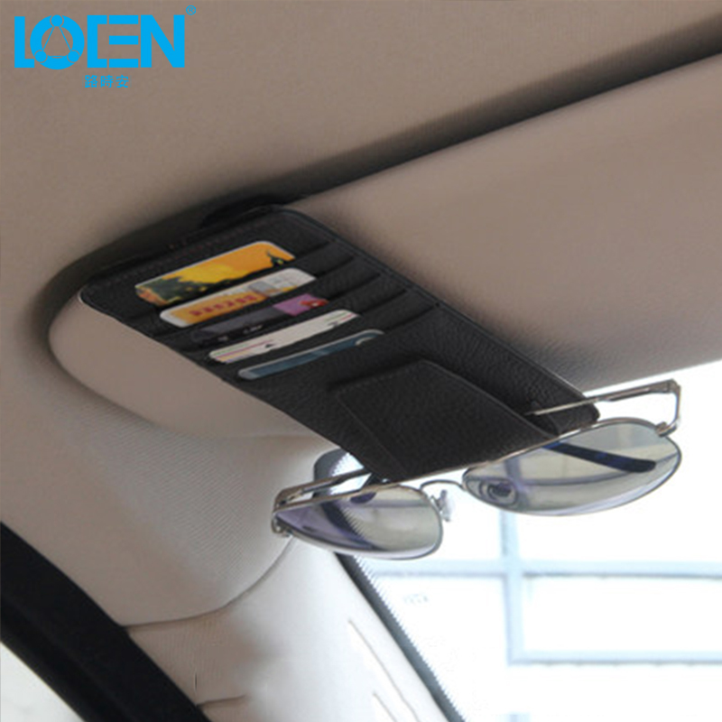 Sun Visor Multifunzione in pelle Car Card Pacchetto Holder Occhiali Storage Organizer Car Hanging Bag auto Tidying Accessori Pocket