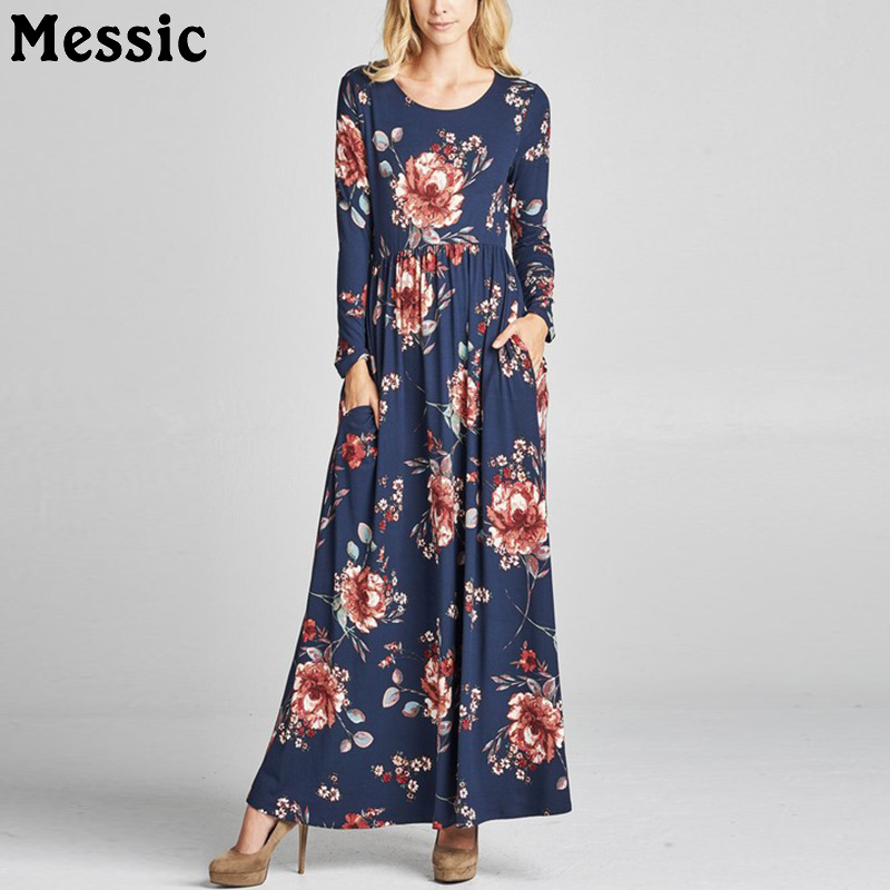 Messic Casual Loose Long Sleeve Ruched Long Dress Women 2018 Autumn Floral Print Knitted Robe Femme Maxi Tunic Ladies Dresses messic cotton long sleeve winter dresses