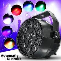 DMX-512 אור שלב RGB LED 12 W סאונד פעילה שלב Strobe מנורת מקרן עבור המפלגה DJ דיסקו לייזר אפקט תאורה AC90-240V