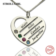 StrollGirl 925 Sterling Silver Personalized Mother's Heart Necklace with 4 Birthstones & Names for Women Sterling Silver Jewelry недорого