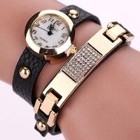 Duoya Brand Fashion Women Watch Vintage Leather Bracelet Wristwatches Gold Crystal Ladies Quartz Women Dress Luxury Watch