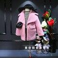 2016 дети и детская одежда девушки супер бренд большой лацкан пальто ZhongTong розовый пальто бесплатная доставка