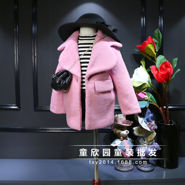 2016 children and children's wear girl's super brand big lapel coat ZhongTong pink coat free shipping