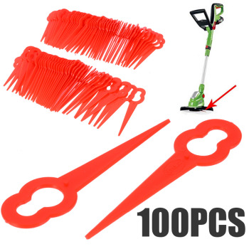 цена на 100Pcs Grass Trimmer Blade Red Plastic Blade Cutter Garden Lawn Trimmer Spare Blade Red Tool Parts