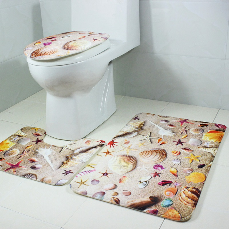 new design bath rug set anti skid bath mat bathroom contour rug toilet