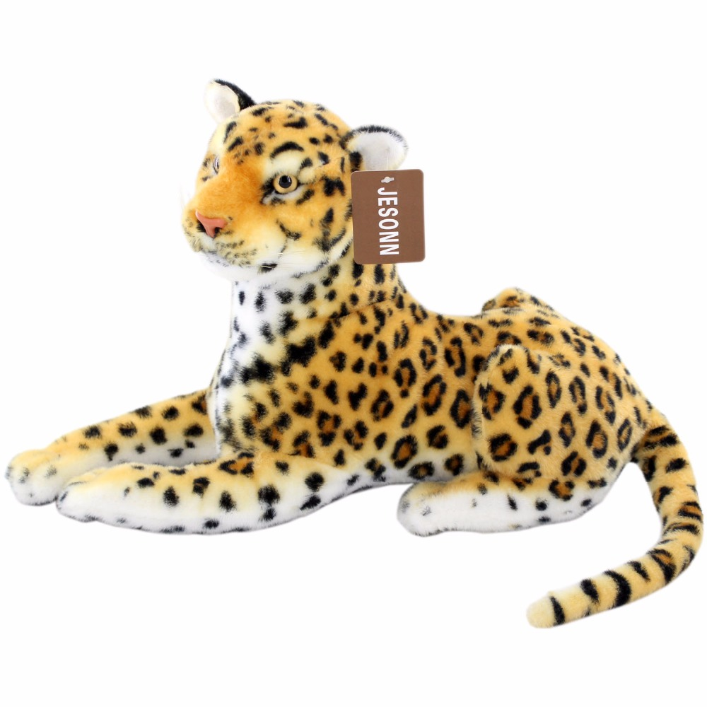 JESONN Realistic Stuffed Animals Toy Leopard Plush Cheetah for Children's Birthday Gifts