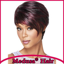 Medusa hair products: Asymmetrical Synthetic pastel wigs for women Short pixie cut styles Mix color wig with bangs SW0114