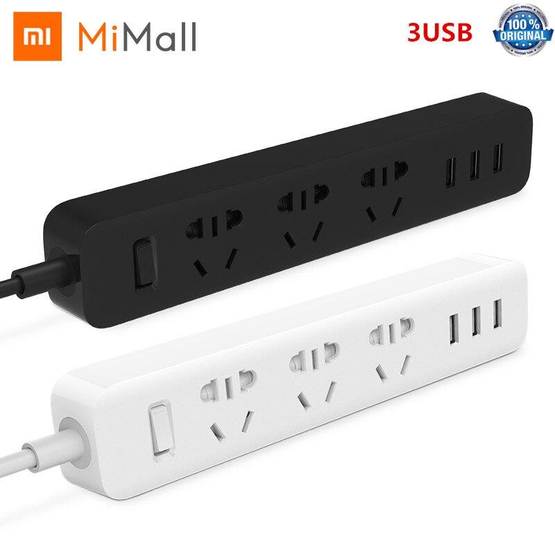 Xiaomi Mijia multiprise 1.8m (5.9ft) 3 prises 10A 250V 2500W 3USB Port 5V 2.1A EU AU royaume-uni UA prise adaptateur de voyage convertisseur