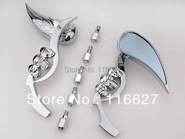 For Yamaha xv v star virago 1100 535 Freeshipping 3D Skeleton Skull TearDrop Mirror  Chrome  w/ Blue Blass стоимость