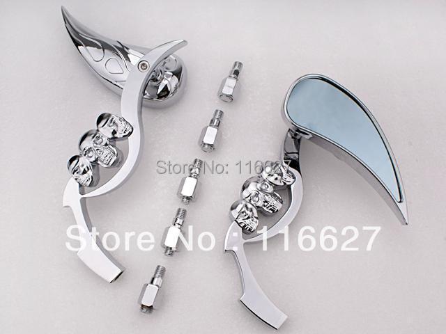 For Yamaha Xv V Star Virago 1100 535 Freeshipping 3D Skeleton Skull TearDrop Mirror  Chrome  W/ Blue Blass
