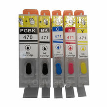 цена на 5PCS PGI470 PGI-470 PGBK CLI-471 BK C M Y refillable ink cartridges For canon MG5740 MG6840 TS5040 TS6040 with auto reset chips