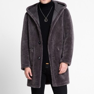 Image 5 - Winter Men Hoodie Shearling Jacket Wool Lining Warm Mid Long Real Fur Coat Slim Fit Business Man Suede Leather Jackets M 5XL