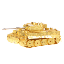 Golden Color Tiger Tank Military DIY 3d Laser cut jigsaw puzzle models Metal works jigsaws for adults
