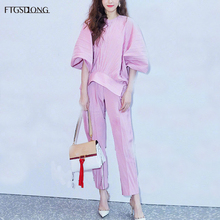 FTGSDLONG Spring 2 Piece Runway Set Women O Neck Solid Ladies Tops and Pants Sets Batwing Sleeve Blouse and Ankle Length Pants