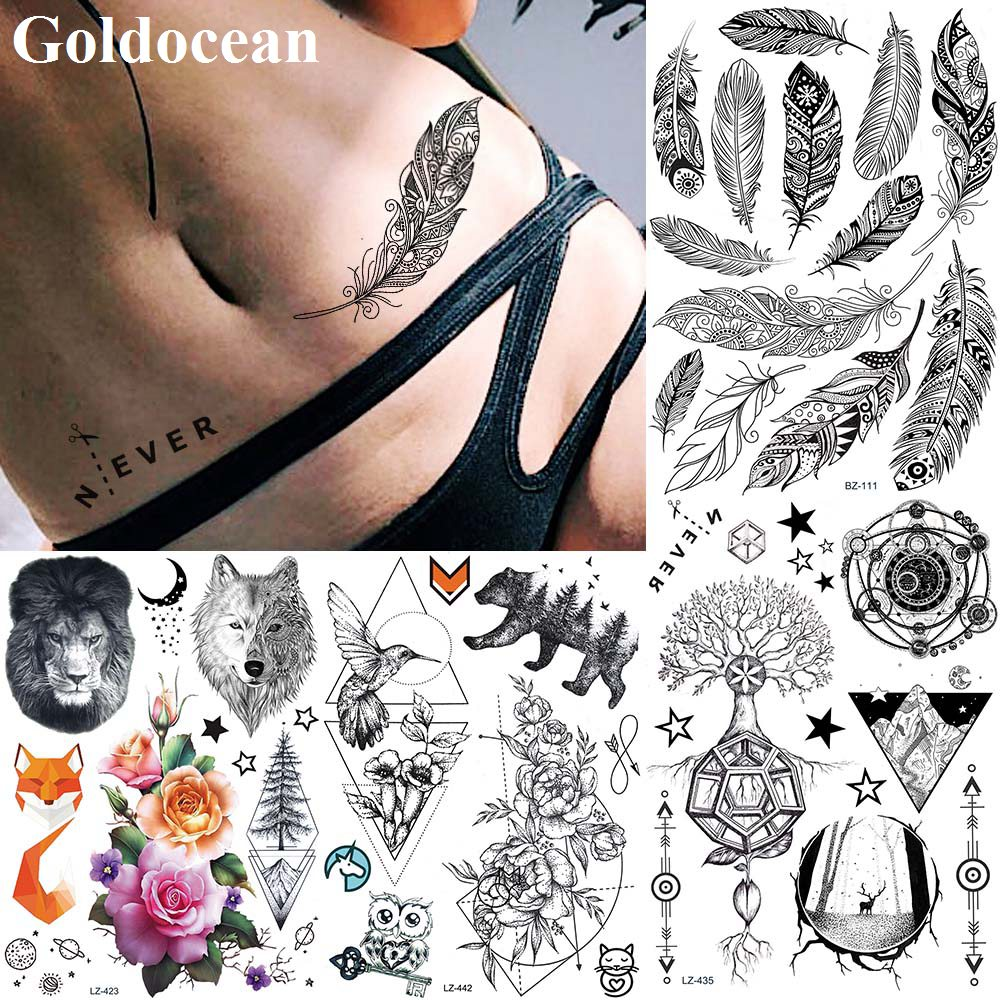 Impermeable India pluma brazo falso tatuajes pegatinas Henna Foream tatuaje para brazo temporal mujeres chicas papel personalizado Tato calcomanías