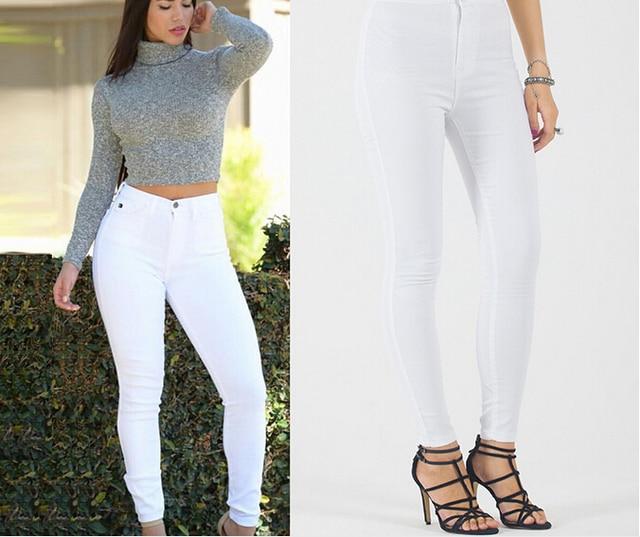 2017 Date Chaude Maigre Blanc Couleur Jeans Femme Taille Haute