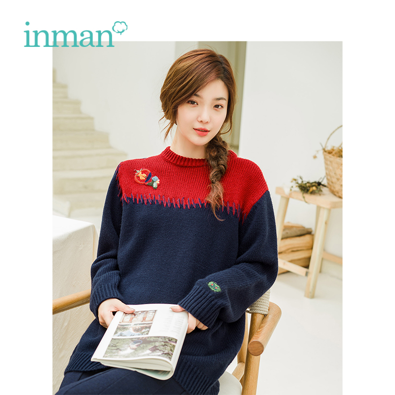 INMAN Winter New Arrival Contrast Color Applique And Embroidery Artistic Women Long Pullover Sweater