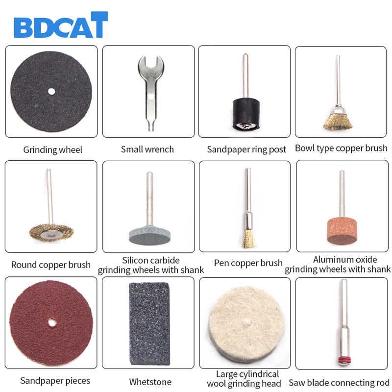 BDCAT 220V outils électriques Mini perceuse électrique avec 0.3-3.2mm mandrin Univrersal & ensemble d'outils rotatifs en shilé pour Dremel 3000 4000