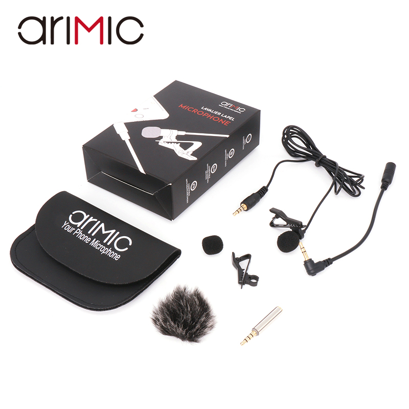Arimic Lavalier Lapel Clip-on Omnidirectional Condenser Microphone Kit with cable adapter & windshield for iPhone Samsung
