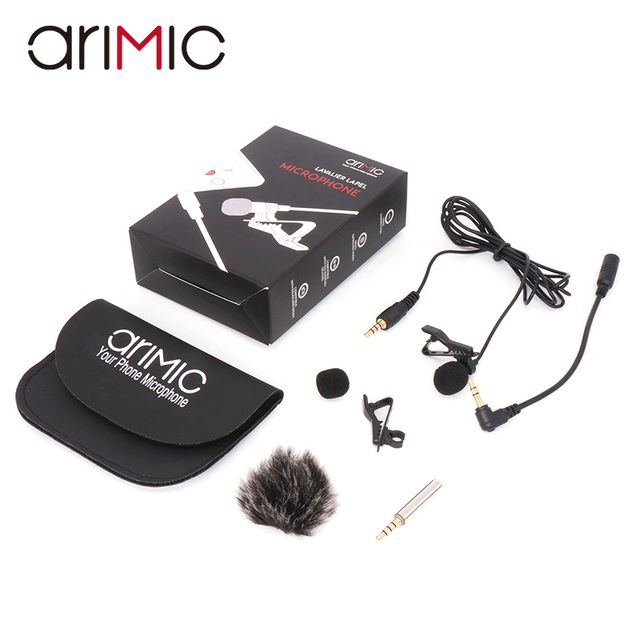 Arimic Lavalier Lapel Clip on Omnidirectional Condenser Microphone Kit with cable adapter & windshield for iPhone Samsung