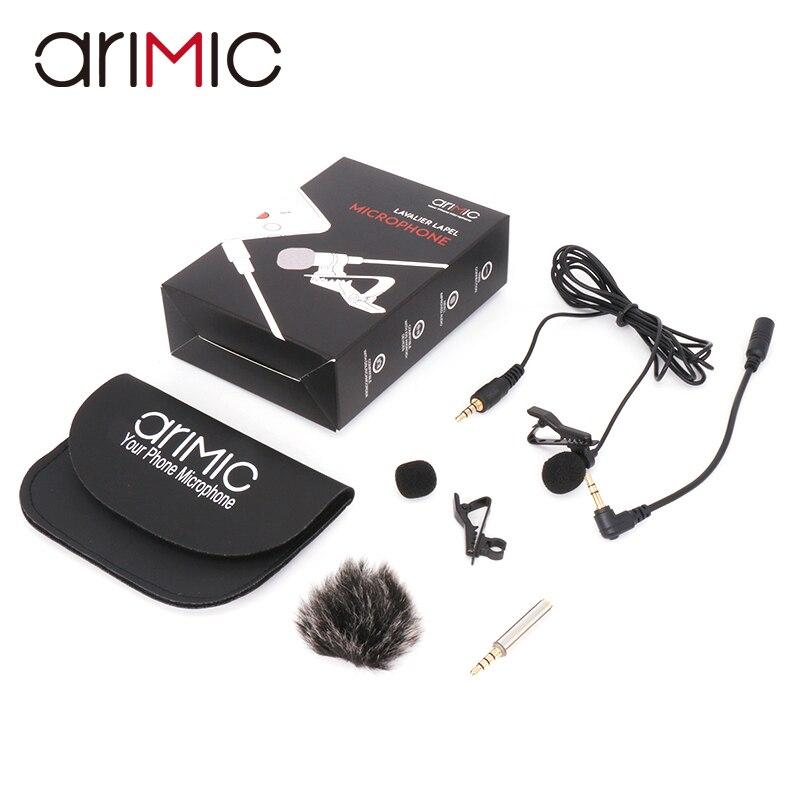 Arimic Lavalier Revers Clip-auf Omnidirektionale Kondensator Mikrofon Kit mit kabel adapter & windschutzscheibe für iPhone Samsung