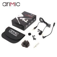 Arimic lapela lapela clip on kit de microfone condensador omnidirecional com adaptador de cabo e pára brisa para iphone samsung