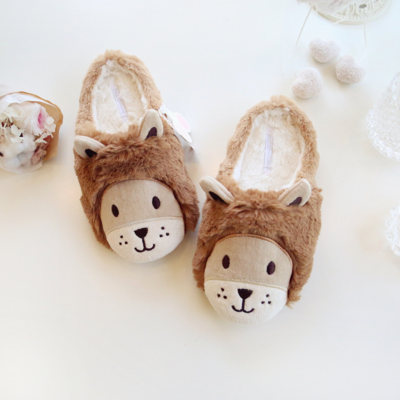 2016Winter New Arrival Lion Warm Home Slippers Lovely Couples Cotton Shoes Comfort Soft Big Size Free Shipping