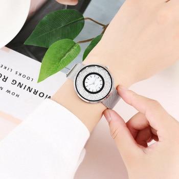 Women Dress Watches Creative Stylish Trendy Stainless Steel Unisex Rhinestone Luxury Casual Men Quartz Watch Relojes Mujer