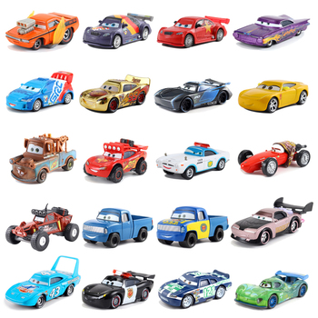 Disney Pixar Cars 2 Lightning McQueen Mater Jackson Storm Sheriff Lizzie 1:55 Diecast Metal Model Toy Car Christmas Gift For Kid image
