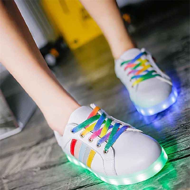 7 Colors Women Rainbow Lace Up LED Lights Shoes Casual PU Leather Glowing Zapatos Mujuer Light Up Shoes Low Top Led Flats Shoes