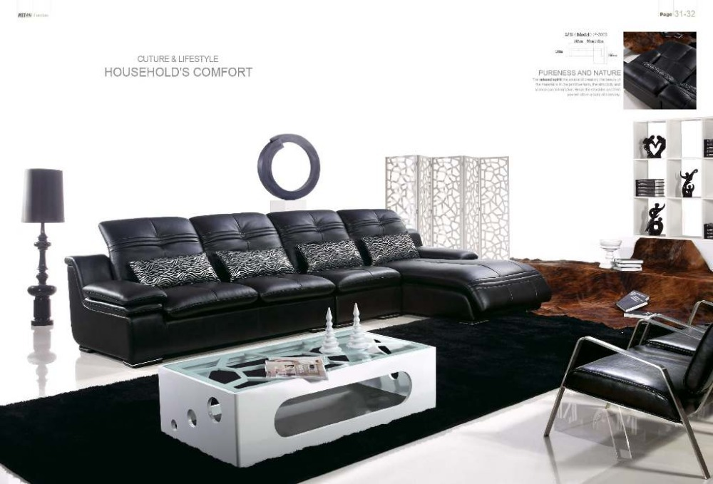 High Quality Top Grain Genuine Leather Luxurious Grand Sofa Sets Lounge Chaise Living Room