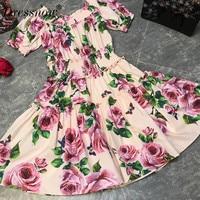 High Quality floral print dress women elegant summer puff sleeve dress sexy slash neck dress