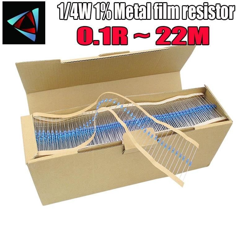 5000pcs 1/4W 1% Metal Film Resistor 0.1R ~ 22M 100R 220R 330R 1K 1.5K 2.2K 3.3K 4.7K 10K 22K 47K 100K 0.22 0.33 0.47 18M 22M Ohm