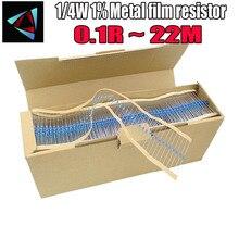 5000pcs 1/4W 1% filme De Metal resistor 0.1R ~ 22M 100R 220R 330R 1K 1.5K 2.2K 3.3K 4.7K 47 22 10K K K 100K 0.22 0.33 0.47 18M 22M ohm