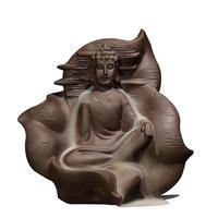 Buddhism Incense Burner Retro Line Glaze Buddha Incense Censer Ceramic Aromatherapy Smoke Backflow Incense Holder Home Decor