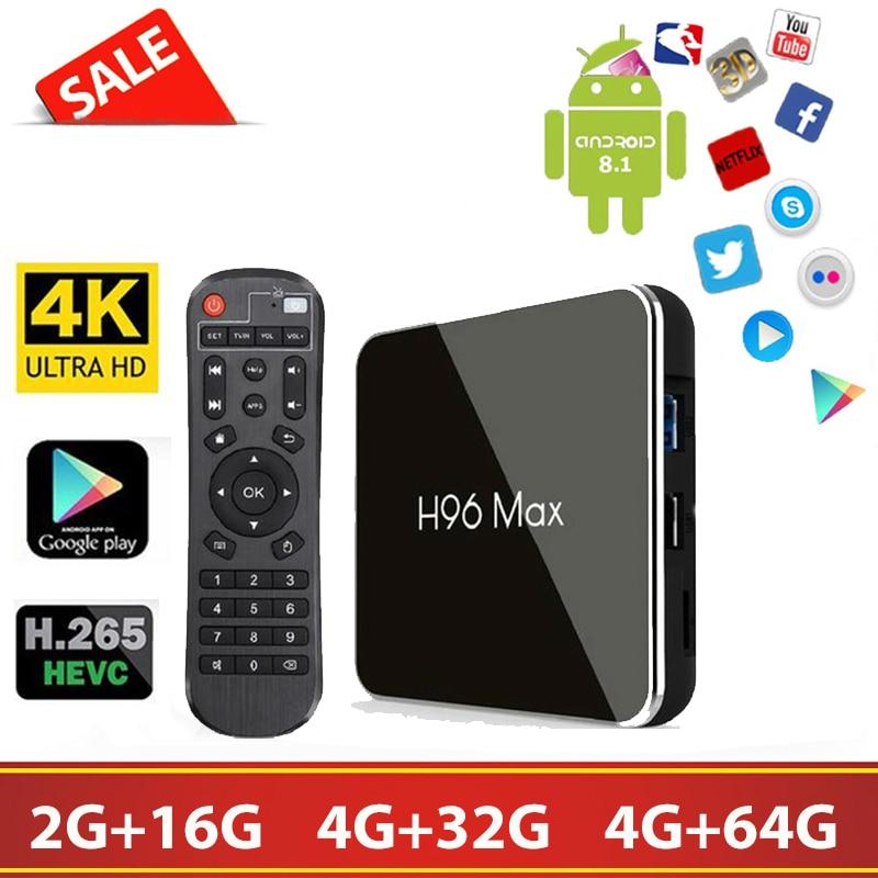 H96max X2 Android 8.1 tv Box Amlogic S905X2 4 + 32G/64 GB 2.4G + 5G wifi 4 K H.256 Smart tv IPTV Abonnement m3u Ensemble décodeur tv tv