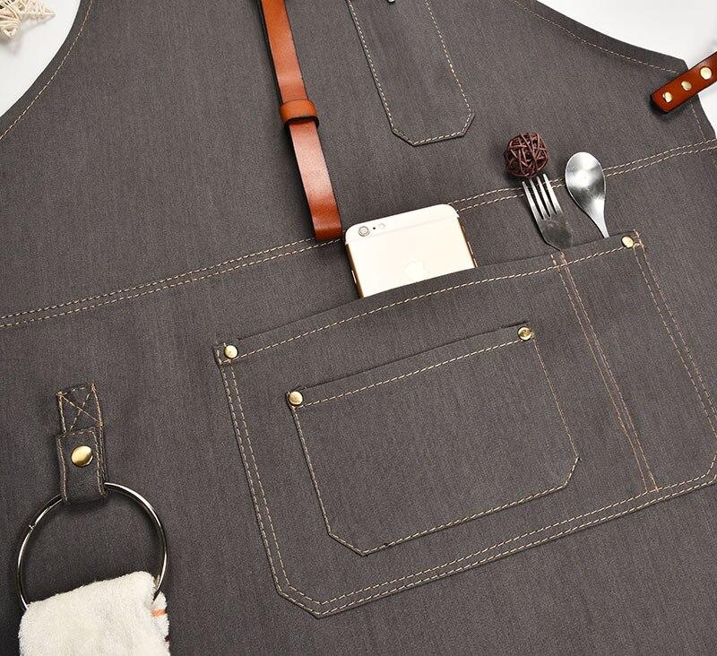 Delantal de cocina de mezclilla con correa de algodón ajustable grandes bolsillos azul Barista hombres y mujeres ropa de casa - 5