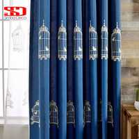 Cotton Fabric Curtains For Living Room Kids Blackout Cortinas Embroidered Roman Blinds Birdcage Drapes Window Door