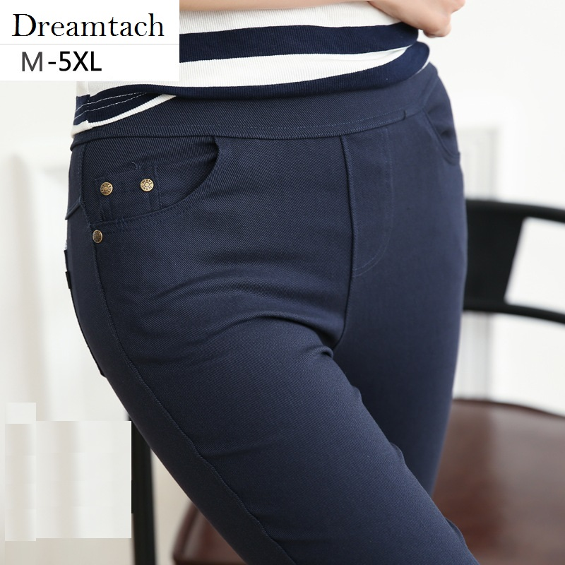 Dreamtach Brand  New Women Casual Pencil Pants Plus Size Jeans Solid Slim Female High Stretch Denim Ankle-Length Pants Trousers spring new women jeans high waist stretch ankle length slim pencil pants fashion female jeans 2017 plus size sexy girl jeans