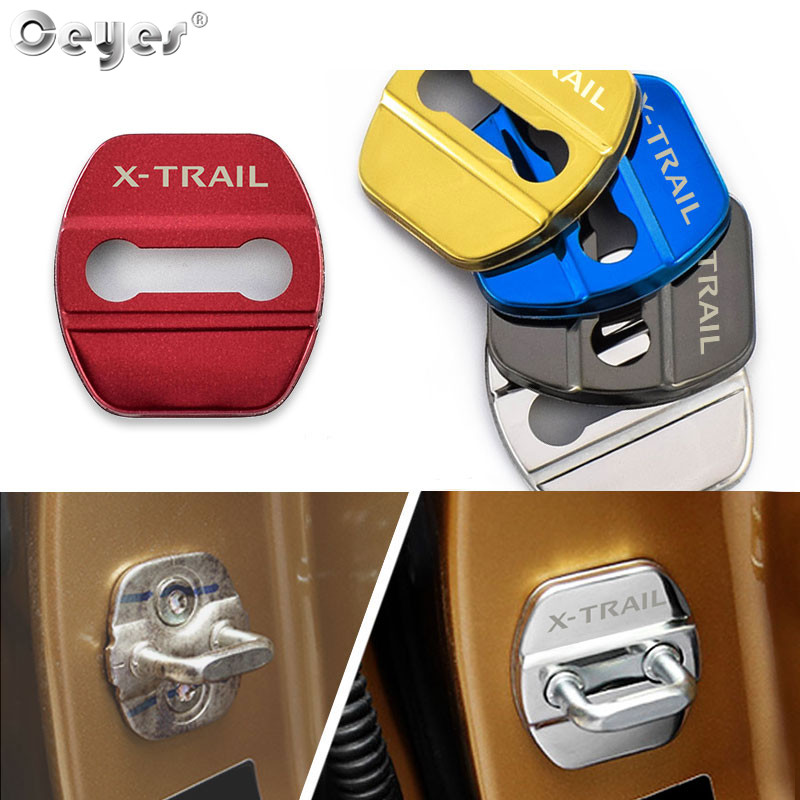 Ceyes Car Styling Auto Emblem Protection Door Lock Stickers Cover Fit For Nissan XTRAIL X Trail Stainless Steel Accessories