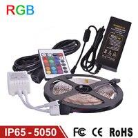 RGB LED Strip Light Waterproof IP65 5m 60LED/M SMD5050 flexible LED RGB Lamp DC12V,IR Remote Controller,5A Power Supply,Receptor