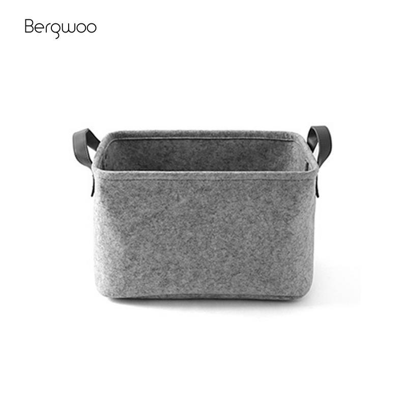 Felt Toy Book Storage Box Foldable Laundry Basket Dirty Clothes Holder Storage Basket Home Textile Light/Dark Gray Box