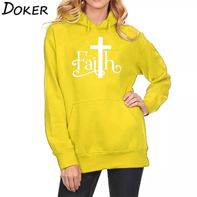 2018 Autumn New Faith Letters Print Hoodies Women Casual Pocket Sweatshirts Plus Velvet Warm Oversized Kawaii Pullover Hoodies
