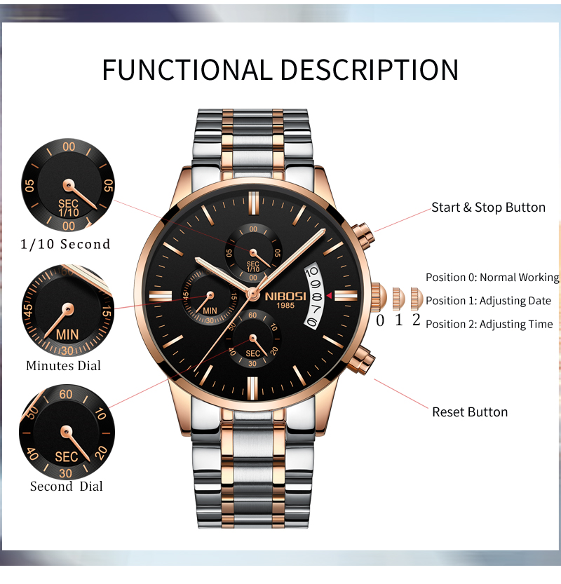 2018 NIBOSI Gold Quartz Watch Top Brand Luxury Men Watches Fashion Man Wristwatches Stainless Steel Relogio Masculino Saatler    (5)