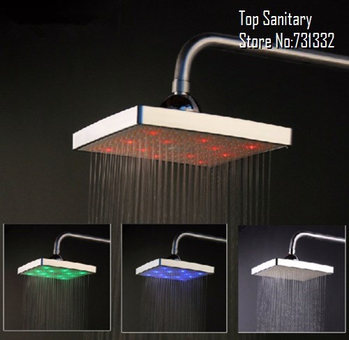 TB9051 # 8 inch square LED shower head 3 colors temperature control Change Rain Bath chuveiro ducha douche banheiro torneira led