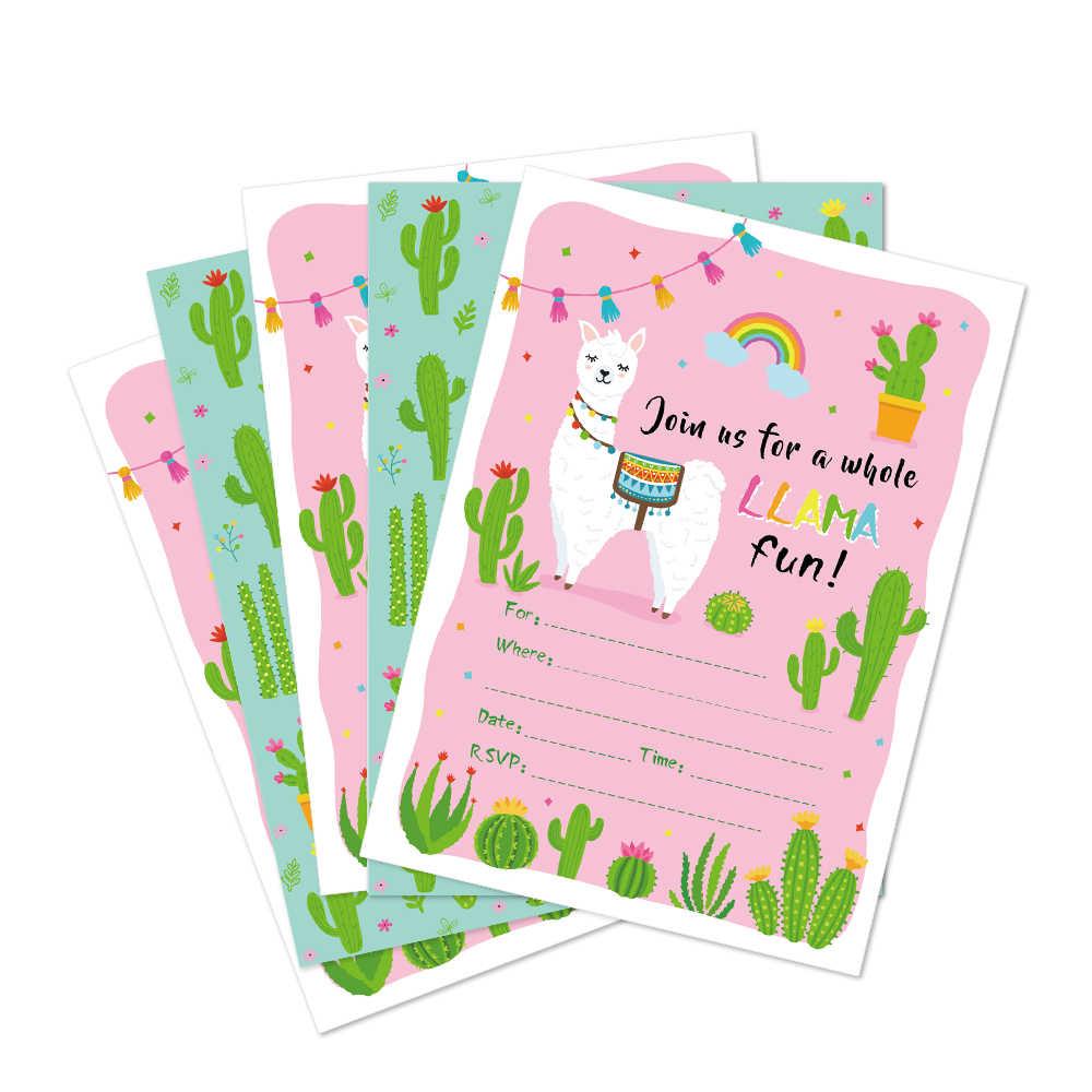 Kawaii Alpaca Cactus Birthday Party Invitations Cards