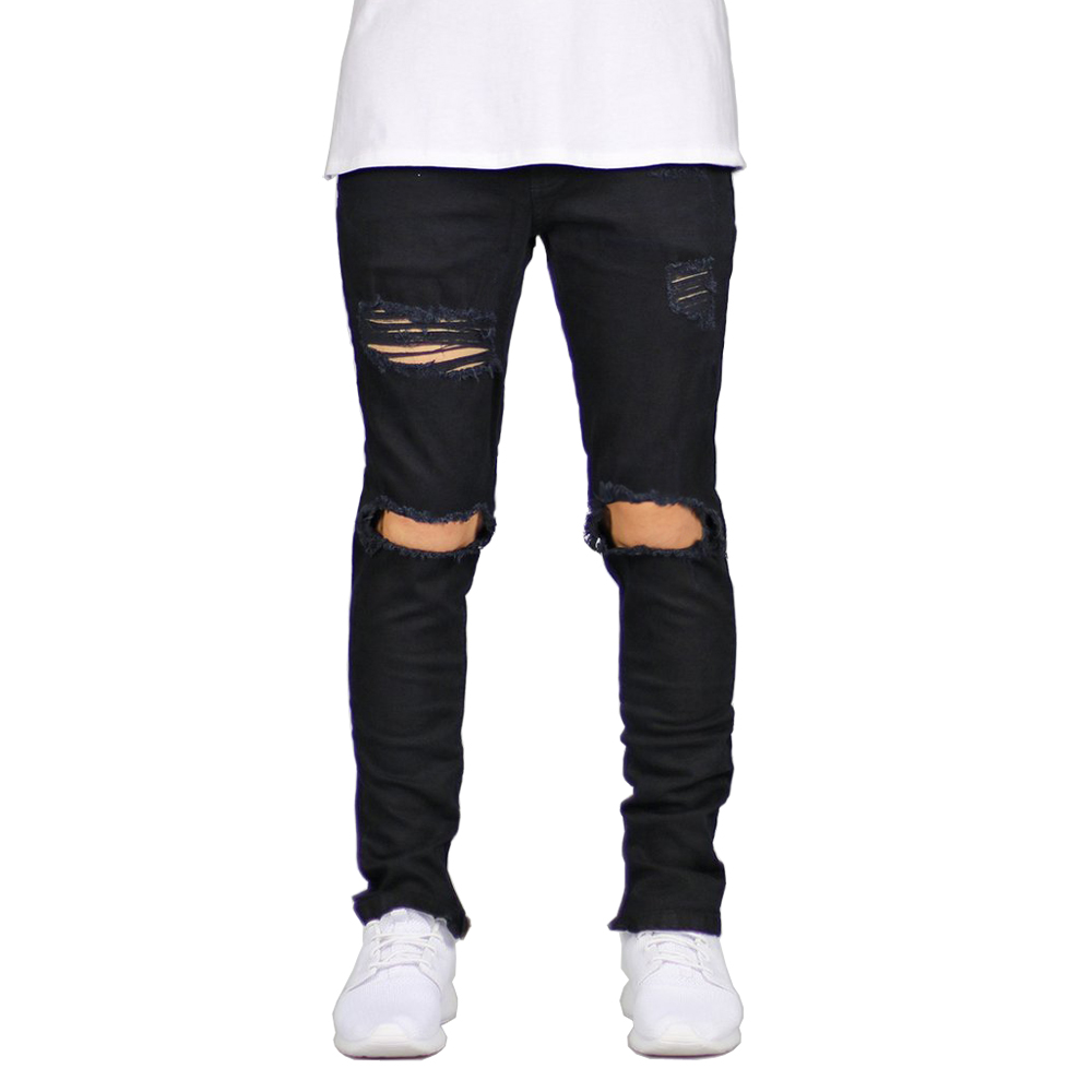 Hot Brand Men   Jeans   Stretch Destroyed Ripped Design Fashion Ankle Zipper Skinny   Jeans   For Men pants