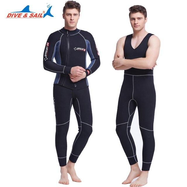 430c99102f Dive Sail 5mm mens 2 piece wetsuits john combination scuba diving wetsuit  spearfishing for men two piece wet suit S-xxxl