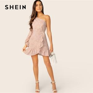 Image 3 - שיין לעופף פרחוני פנס כתף שרוול לפרוע שמלת 2019 Boho ורוד גבוהה מותניים לעטוף נשים אביב קיץ שמלות